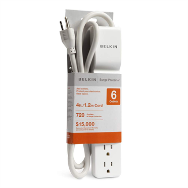 6 Outlet Home/Office Surge Protector 4' cord -$ HeroImage