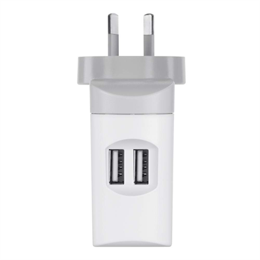 Dual Charger with 30-Pin to USB cable (10 Watt Per Port/2.1 Amp Per Port) -$ SideView1Image