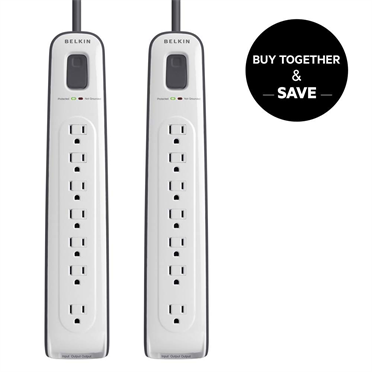 7-outlet Surge Protector with 4 ft Power Cord with Telephone Protection 2-Pack   P-BUN1043